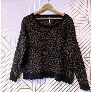 Free People Leopard Print Boxy Crop Sweater